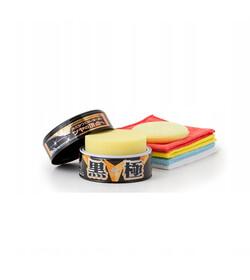 Soft99 Kiwami Extreme Gloss Black Hard Wax zestaw - wosk do ciemnych lakierów