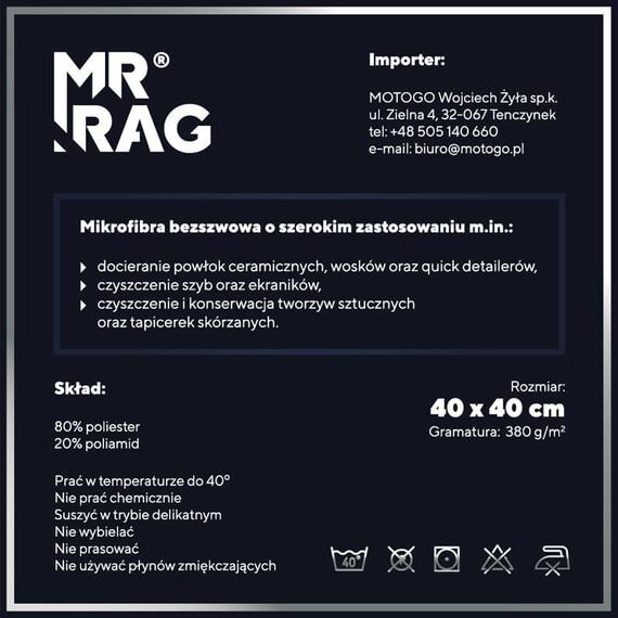 MR RAG 40x40cm GREY edgeless 380GSM mikrofibra szara bezszwowa