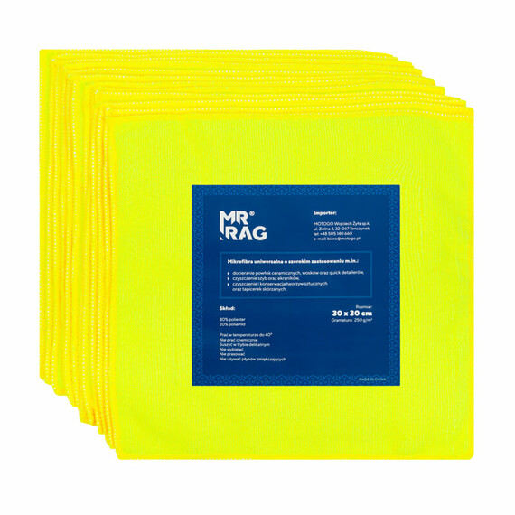 MR RAG 30x30cm yellow 250gsm 12-pack mikrofibra żółta