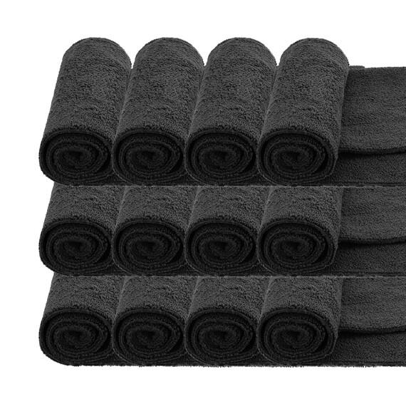 MR RAG 40x40cm BLACK edgeless 380GSM mikrofibra czarna bezszwowa 12-pack